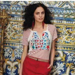 Anthropologie Tiny XS floral embroidery stripe tee